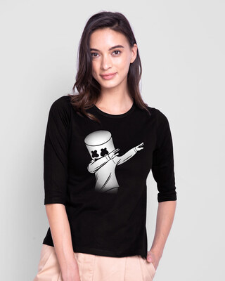 Shop Dab Marshmello Round Neck 3/4th Sleeve T-Shirt-Front
