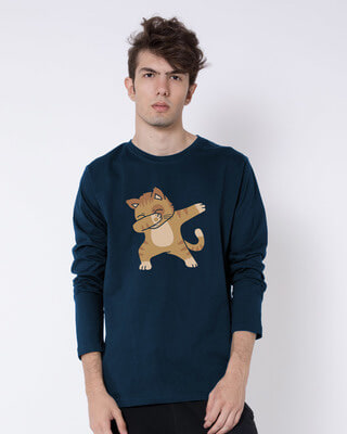Shop Dabbing Cat Full Sleeve T-Shirt-Front