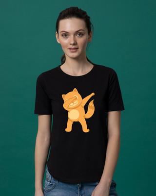 Shop Dabbing Catty Basic Round Hem T-Shirt-Front