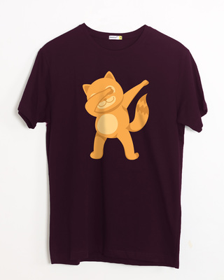 Shop Dabbing Catty Half Sleeve T-Shirt-Front