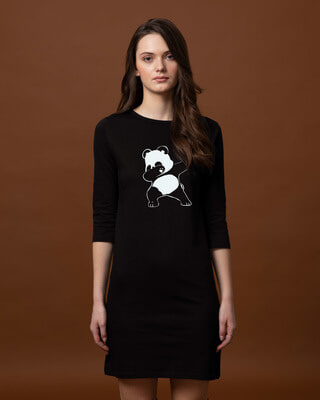 Shop Dabbing Panda Boat Neck 3/4th Sleeve T-Shirt Dress-Front