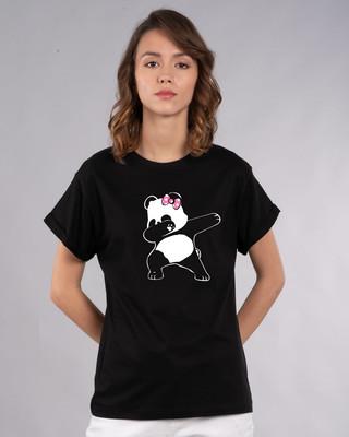 Shop Dabbing Panda Bow Boyfriend T-Shirt-Front