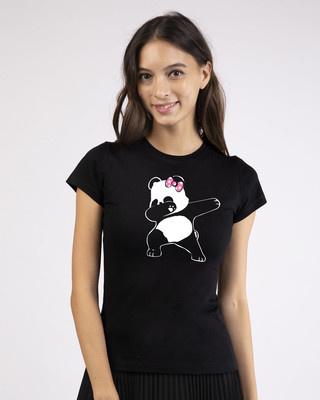 Shop Dabbing Panda Bow Half Sleeve T-Shirt-Front