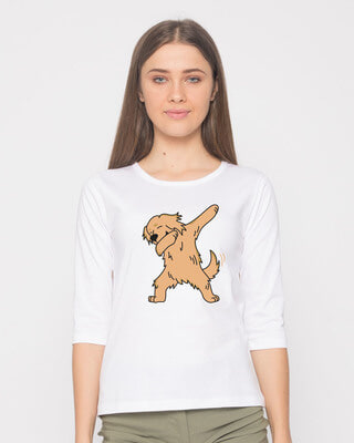 Shop Dabbing Retriever Round Neck 3/4th Sleeve T-Shirt-Front