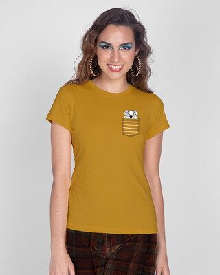 Shop Dalmatian Pocket Half Sleeve Printed T-Shirt Mustard Yellow (DL)-Front