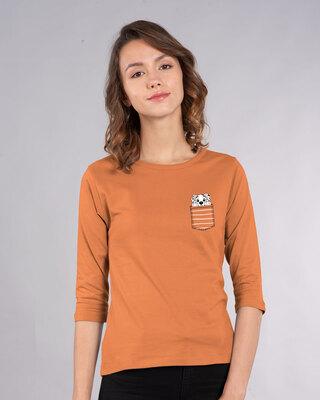 Shop Dalmatian Pocket Round Neck 3/4 Sleeve T-Shirts Vintage Orange (DL)-Front