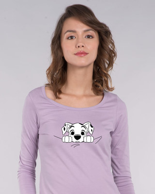 Shop Dalmatian Puppy Scoop Neck Full Sleeve T-Shirt (DL)-Front