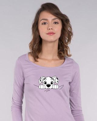 Shop Dalmatian Puppy Scoop Neck Full Sleeve T-Shirt (DL)-Front