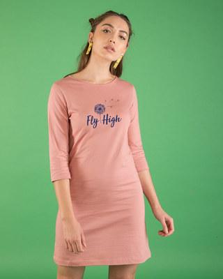Shop Dandelion Fly High Boat Neck 3/4th Sleeve T-Shirt Dress-Front