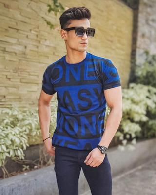 Shop Urban Estilo Dark Blue Easy One Text Print Half Sleeves T Shirt-Front