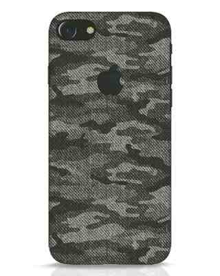Shop Dark Camo iPhone 7 Logo Cut Mobile Cover-Front
