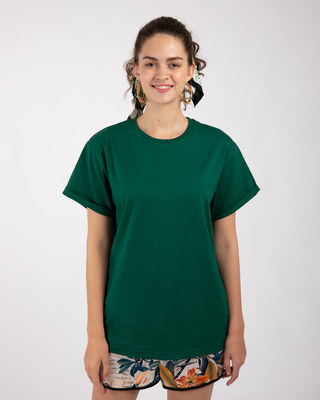 Shop Dark Forest Green Boyfriend T-Shirt-Front