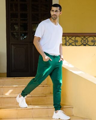 Shop Dark Forest Green Casual Jogger Pant-Front