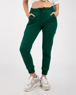 Shop Dark Forest Green Casual Jogger Pants-Front