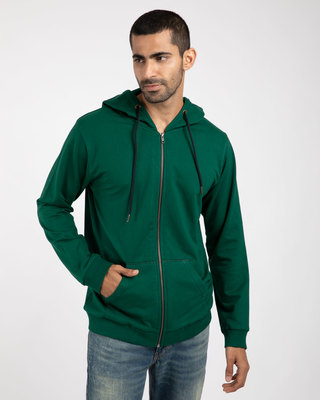 Shop Dark Forest Green Fleece Zipper Hoodies-Front