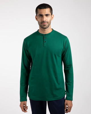 Shop Dark Forest Green Full Sleeve Henley T-Shirt-Front