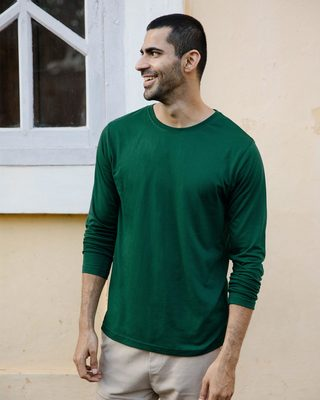 Shop Dark Forest Green Full Sleeve T-Shirt-Front