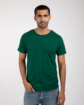 Shop Dark Forest Green Half Sleeve T-Shirt-Front