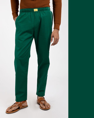 Shop Dark Forest Green Plain Pyjama-Front