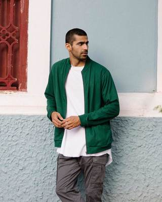 Shop Dark Forest Green Plain Zipper Bomber Jacket-Front
