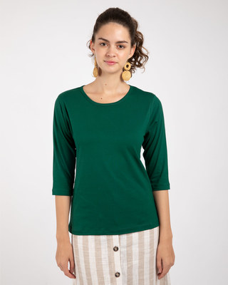 Shop Dark Forest Green Round Neck 3/4th Sleeve T-Shirt-Front