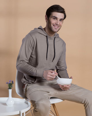 Shop Dark Gull Grey Fleece Hoodies-Front
