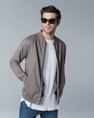 Shop Dark Gull Grey Plain Zipper Bomber Jacket-Front