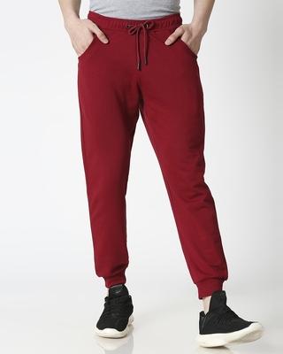 Shop Dark Maroon Casual Jogger Pant-Front