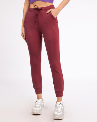 Shop Dark Maroon Casual Jogger Pants-Front