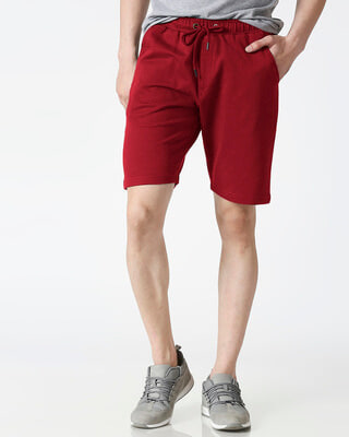 Shop Dark Maroon Casual Shorts-Front