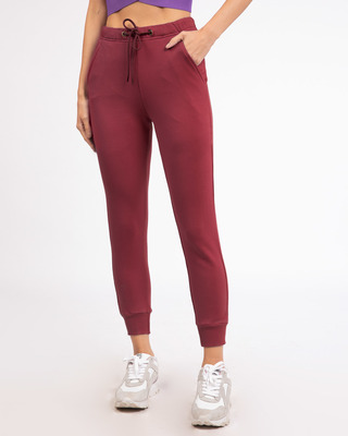 Shop Dark Maroon Fleece Joggers-Front