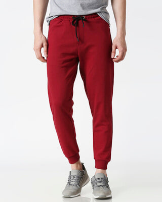 Shop Dark Maroon Jogger Pants-Front
