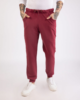 Shop Dark Maroon Round Pocket Joggers Pants-Front