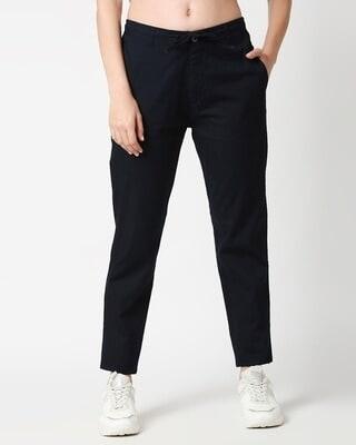 Shop Dark Navy Blue Casual Cotton Trouser-Front