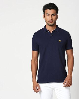 Shop Dark Navy-Cyber Yellow Contrast Collar Pique Polo T-Shirt-Front