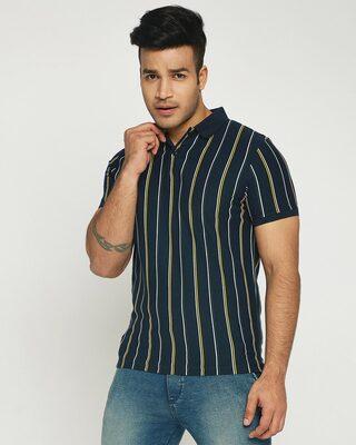 Shop Dark Navy Vertical Striped Pique Polo T-Shirt-Front
