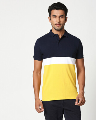 Shop Dark Navy-White-Cyber Yellow Triple Block Polo T-Shirt-Front