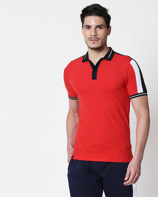 Shop Men's Dark Navy-White-Imperial Red Sporty Sleeve Panel Polo T-Shirt-Front
