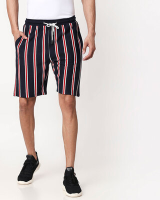 Shop Dark Navy-White-Imperial Red Vertical Stripe Shorts-Front