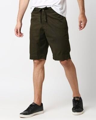 Shop Dark Olive Comfort Shorts-Front