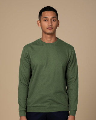 Shop Dark Olive Fleece Sweater-Front