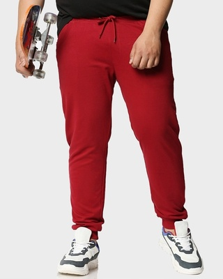 Shop Dark Red Plus Size Casual Jogger Pants-Front