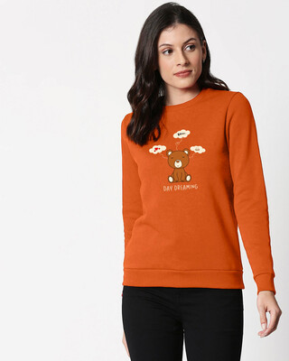 Shop Day Dreaming Bear Fleece Sweater Burnt Orange Melange -Front