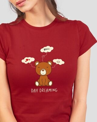 Shop Day Dreaming Bear Half Sleeve Printed T-Shirt Bold Red -Front