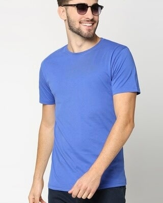 Shop Dazzling Blue Half Sleeve T-shirt-Front
