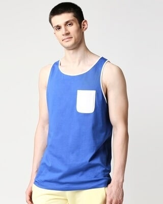 Shop Dazzling Blue-White Round Neck Contrast Binding Pocket Vest-Front