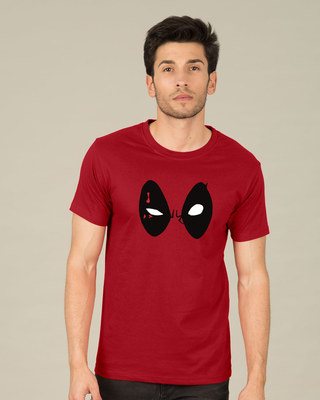 Shop Deadpool Eyes Half Sleeve T-Shirt (DPL)-Front