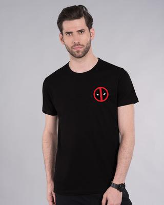 Shop Deadpool Face Printed Badge Half Sleeve T-Shirt ( DPL )-Front