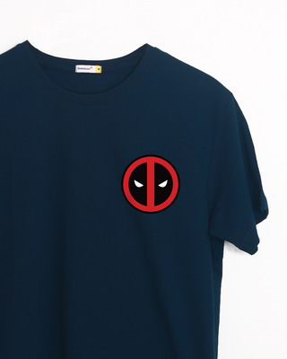Shop Deadpool Face Printed Badge Half Sleeve T-Shirt ( DPL )-Front