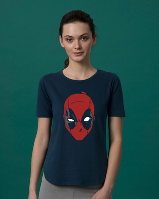 Shop Deadpool Mask Basic Round Hem T-Shirt (DPL)-Front